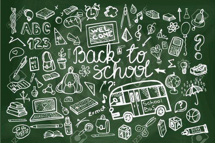 Back to School Supplies Sketchy chalkboard Doodles lettering with  Swirls- Hand-Drawn.Horizontal Composition.Vector Illustration Design Elements on Lined Sketchbook chalkboard Background