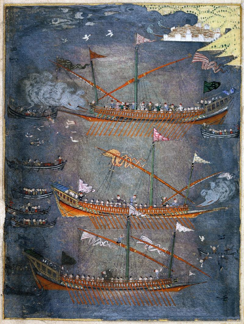 Sloane_3584_f.78v_Turkish_galleys_in_battle,_c.1636