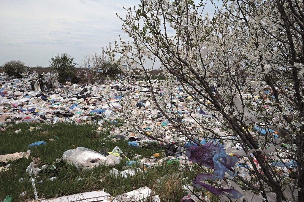 В Запорожье одна из улиц завалена мусором, который не могут вывезти из-за территориальной неразберихи (ВИДЕО)