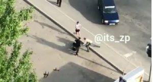 В Запорожье в центре Космоса утром на улице палками избили мужчину (ВИДЕО)