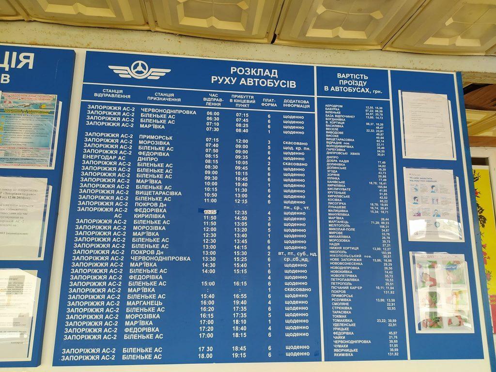 Список маршрутов по спецпропускам и запрещенных в Запорожской области: расписание