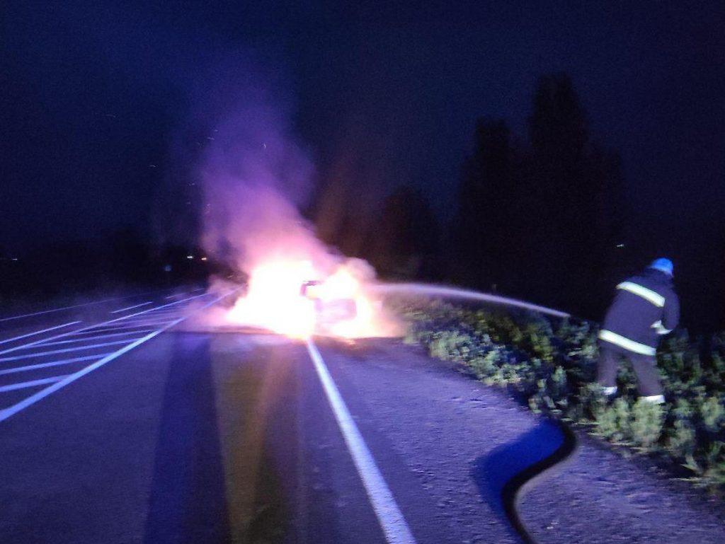 В Запорожской области на трассе дотла сгорела иномарка (ФОТО)