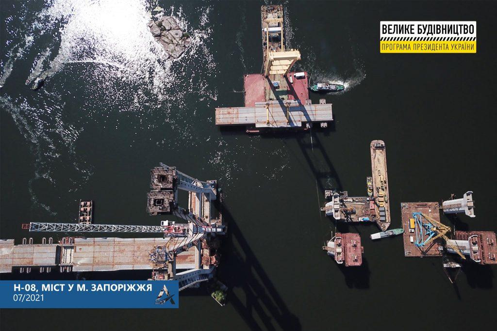 До конца июля в Запорожье смонтируют все секции вантового моста, — Укравтодор (ФОТО)