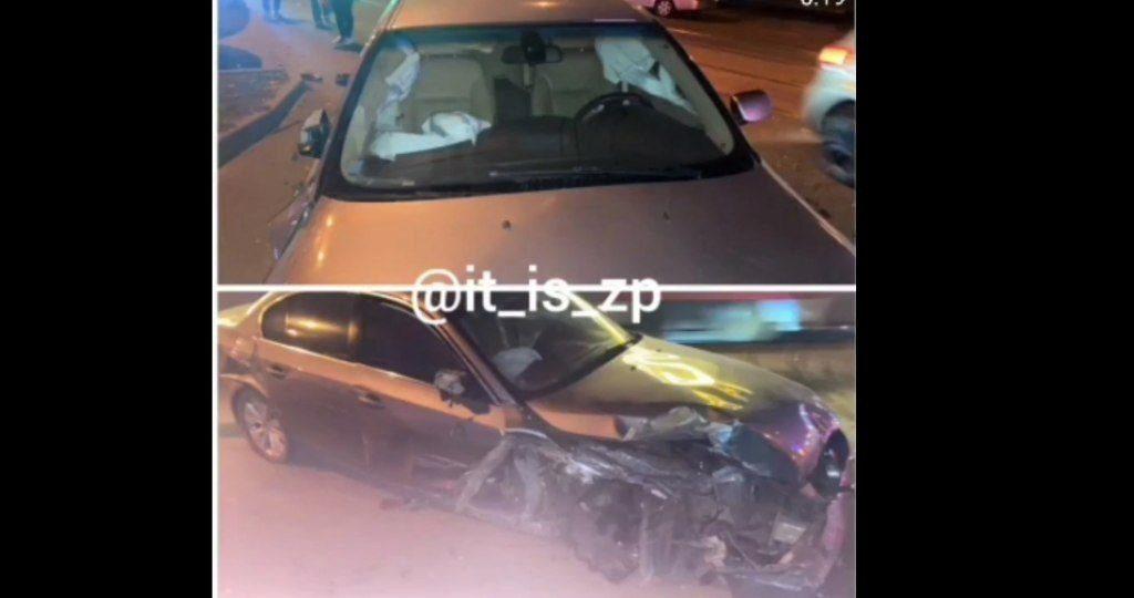 В Запорожье водитель на спущенных колесах протаранил больше десятка авто (ВИДЕО)